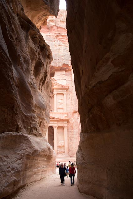 Approaching the Treasury at Petra